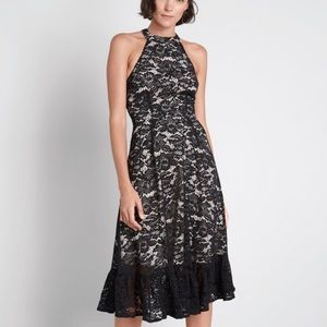 NWT A Night Like This Black Lace Halter Dress